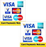 2 x Visa American Express Vpay Mastercard Electron Maestro Kreditkarten Taxi Shop Business