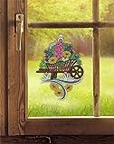 Fensterbild SCHUBKARRE (BxH) 21 x 28 cm echte Plauener Spitze inkl. Saughaken – schönes Geschenk Garten- und Blumen-Freunde