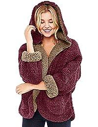 DOGZI Abrigo Mujer Invierno,Reversible Piel sintética Invierno Encapuchado Cárdigan Abrigo Parte Delantera y Trasera