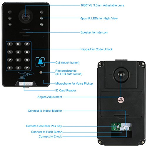"KKmoon 7"" Wired Video Door Phone System Intercom Entry Access Control System Doorbell Chimes with 2*800x480 Indoor Monitor + 1*1000TVL Outdoor Camera + 2*8G TF Card + 5*ID Card + 1*Remote Control"