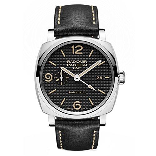 Panerai Radiomir 1940 Herren-Armbanduhr 45mm Armband Leder Schwarz Gehäuse Edelstahl Automatik PAM00627