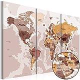 murando - Weltkarte Pinnwand 135x90 cm - Bilder mit Kork Rückwand - Leinwandbilder - Korktafel - Fertig Aufgespannt - Wandbilder XXL - Kunstdrucke - Welt Karte Kontinent Landkarte k-A-0070-p-g