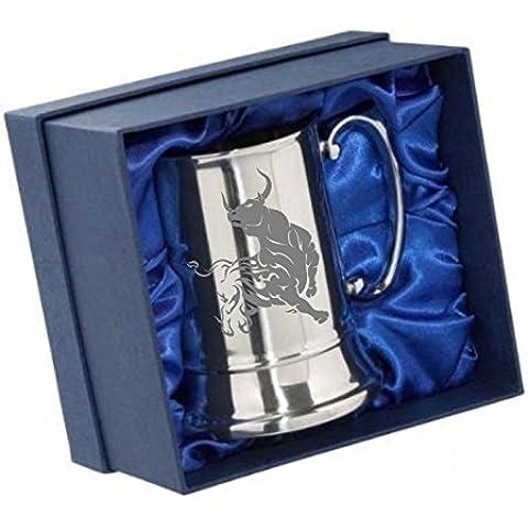 Incisione personalizzata in acciaio inox boccale birra tazza in confezione regalo Furious Toro 04e il tuo messaggio incisione