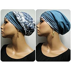 Beanie Mütze Wendemütze Petrol Grau mit Band little things in life Chemo Cap Hat Chemomütze Mütze bei Krebs Kopfbedeckung Turban