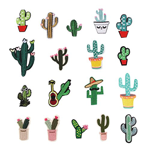 elbild Aufbügler Bügeleisen auf Patches Applikation für T-Shirt Jeans Kleidung Taschen zum Aufbügeln, 18 PCS Kaktus Motiv ()