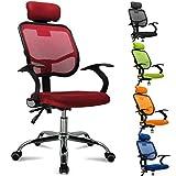FEMOR Schreibtischstuhl Drehstuhl Bürostuhl Chefsessel sitzkomfort Bürodrehstuhl Binklusive Armlehnen Bandscheiben ergonomisches - bis 130KG - Höhenverstellung - Farbwahl (rot)