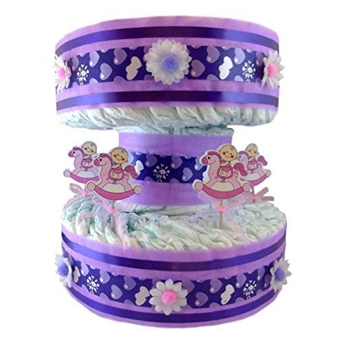Tarta de pañales Carrusel Tiovivo para niña