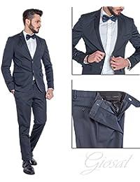 1739ea98e132 Giosal Abito Elegante Uomo Vestito Giacca Pantalone Blu Tinta Unita