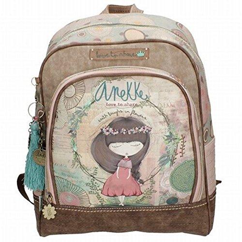 Anekke mochila escolar c/muñeca beige