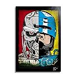 Arthole.it Terminator e Robocop - Quadro Pop-Art Originale con Cornice, Dipinto, Stampa su Tela, Poster, Locandina, Fantascienza, Horror