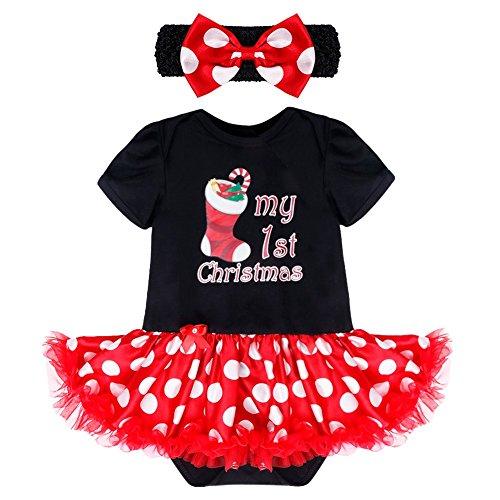 Farbband, Schwarz Tutu (YiZYiF 2tlg. Baby Mädchen Kleid Weihnachten Bekleidung Set Strampler Tütü Bodys + Kopfband Weihnachtsgeschenk für 0-12 Monate #4 Weihnachtssocke Schwarz 3-6 Monate)