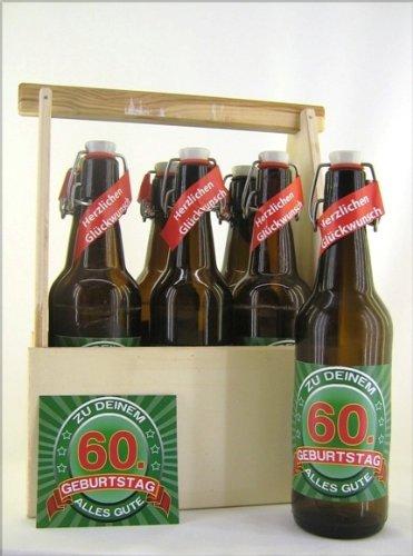 6er Bierträger aus Holz Spruch zum 60. Geburtstag