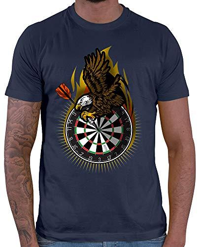HARIZ  Herren T-Shirt Adler Dartscheibe Dart Sprüche Dartscheibe Sport Fun Trikot Plus Geschenkkarte Navy Blau XXL