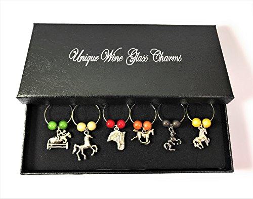 Set von 6Weinglas Horse Lovers Charms mit Geschenkbox handgefertigt von Libby 's Market Place ~ von UK Verkäufer (Pferd Wein Glas Charms)
