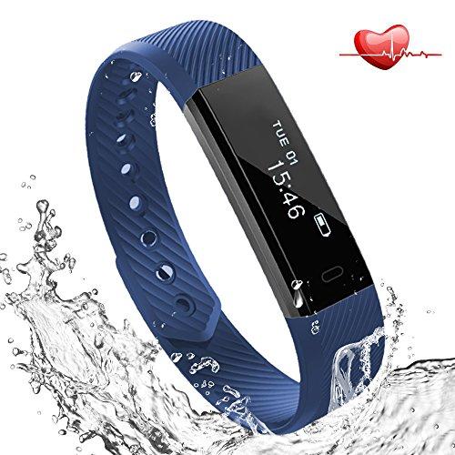Fitness Tracker mit Herzfrequenz Pulsmesser Uhr, Lemebo Bluetooth 4.0 Fitnessaufzeichnung IP67 Wasserdicht Smart Armband mit Blutdruck Schritt Tracker Schlaf-Monitor Kalorienzähler Schrittzähler Uhr für Android und iOS Handys (Blue)