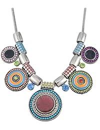 MJARTORIA Femme Bijoux Collier Bib Clavicule Bohemien Exagere Pendentif Strass Ethnique Disque Rond Multicolore