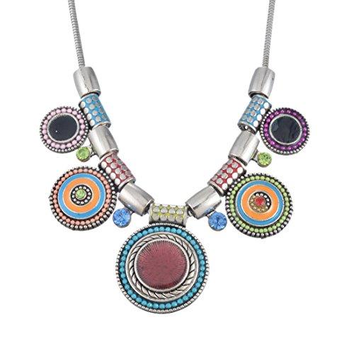 MJARTORIA Boho Kette Silber Farbe Collier Statement Pullover Halskette Indien Anhänger Kette Valentinstag (Bunt)