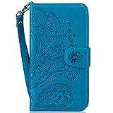 LMAZWUFULM Hülle für HTC Desire 650/628 / 626G 5.0 Zoll PU Leder Magnet Brieftasche Lederhülle Pfau-Blumen Prägung Design Stent-Funktion Ledertasche Flip Cover für HTC 650/628 / 626G Blau