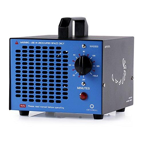 Airthereal MA5000 5.000mg/Std. Kommerzieller Ozongenerator Geruchskiller, Ozon Luftreiniger Ozongerät Ozonisator mit Timer für Zimmer, Rauch, Autos und Haustiere (Blau), Metall, 172 x 187 x 172 mm