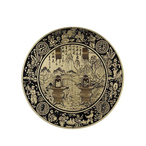 Encargarse de,Antiguo mango Antiguos chinos aldabón Manija de puerta de armario de cobre amarillo Mango redondo Manija de puerta Manijas de muebles Gabinete de chapa 18cm-G