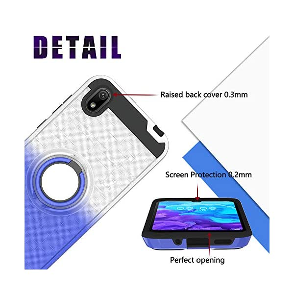 FAWUMAN Case for Huawei Honor 8S,Gradient Phone Protective Case with Phone Ring,Hard PC+ Soft TPU 2in1 Hybrid Double-layer Anti-slip 3D Fishnet Phone Cover (Silver-Blue) FAWUMAN * Shockproof phone case fits for Huawei Honor 8S. * Hard PC+ Soft TPU 2in1 Hybrid Double-layer Anti-slip 3D Fishnet, support good protection to your smart phone.protection to your smart phone. * Case with Phone Ring for you to watch videos. 6