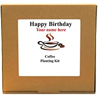 Personalised Happy Birthday Coffee Planting Kit - Unusual Indoor Gardening Gift