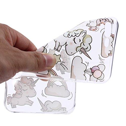 iPhone 7 Plus Hülle, iPhone 7 Plus Hülle Transparent, iPhone 7 Plus Hülle TPU Case Schutzhülle Silikon Case, Cozy Hut ®[Liquid Crystal] 3D Romantik Flower Animal Cartoon Series Transparent Weiche Sili Prinz Charming