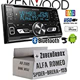 Alfa Romeo 159 Spider Brera Navi - Autoradio Radio Kenwood DPX-5100BT - 2-DIN Bluetooth USB Apple Android Autoradio PKW KFZ Paket - Einbauzubehör - Einbauset
