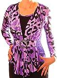 PoshTops Damen Bluse 2 in 1 Optik Dehnbares Material Damenoberteil Damenshirt Lange Ärmel Größen S – XXXL Abendkleidung Freizeitkleidung Plus Size Kleidung (Lila, S / 36/38)