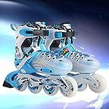 Kinder-Skates, Inline-Skates Für Damen Und Herren Einstellbare Größe Pu-Rad,Blue,30to33yards