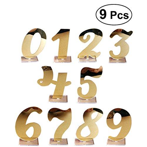 (BESTOYARD 0–9Hochzeit Tisch Nummer Acryl Spiegel der Platzhalter mit Halter Basis Für Hochzeit Party Geburtstag (Golden))