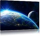 Die Erde und ihr Mond aus dem All, Format: 100x70 auf Leinwand, XXL riesige Bilder fertig gerahmt mit Keilrahmen, Kunstdruck auf Wandbild mit Rahmen, günstiger als Gemälde oder Ölbild, kein Poster oder Plakat