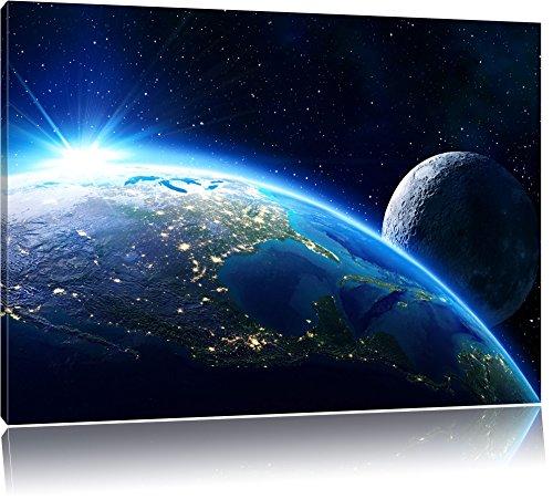Die Erde und ihr Mond aus dem All, Format: 120x80 auf Leinwand, XXL riesige Bilder fertig gerahmt mit Keilrahmen, Kunstdruck auf Wandbild mit Rahmen, günstiger als Gemälde oder Ölbild, kein Poster oder Plakat (Erde Der Bilder Globale)