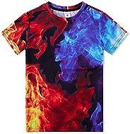 RAISEVERN Divertido Unisex Niños Impresiones en 3D Camisetas Casual Tops Camisetas Manga Corta Fresca para los