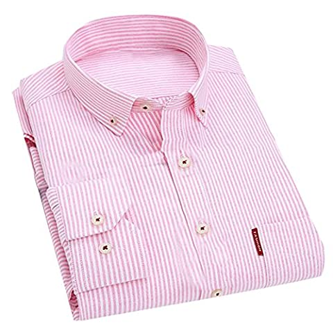 Fulok Mens Striped Oxford Long Sleeve Casual Business Button Up Shirt XL Pink1