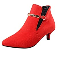 Kobay Women Boot,Ladies Fashion Suede Pointed Toe Shoes Buckle-Strap High Heels Chain Ankle Boots Red