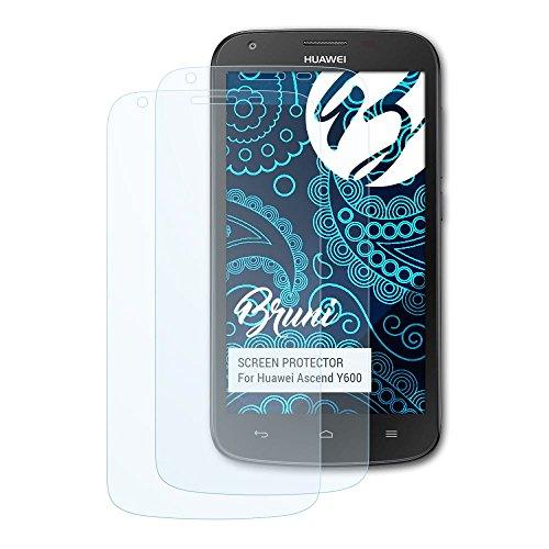 Bruni Schutzfolie für Huawei Ascend Y600 Folie, glasklare Bildschirmschutzfolie (2X)
