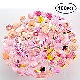 KOBWA Slime mit 100Stück gemischt, Kunstharz Candy Süßigkeiten-Perlen Slime Perlen-Harz Flatback für DIY Handwerk Scrapbooking