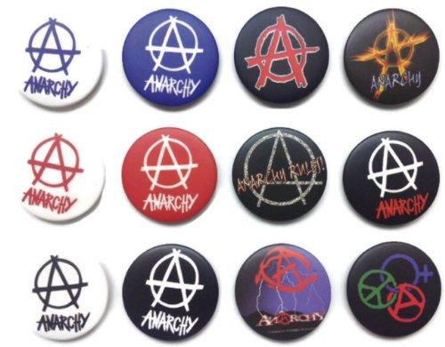 Anarchie Symbol (2) Awesome Qualität Lot 12NEU Pins Anstecker Badge 3,2cm (Metall-anarchie-symbol)