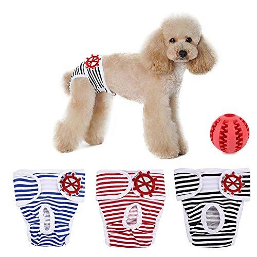 Shuibian 3er Pack Einstellbare und Waschbare Hundewindeln Hund Hygieneunterhose mit Freie Hundezähne die Kugel säubern waschbar Werke für Kleine bis Mittlere Hündchen (s)