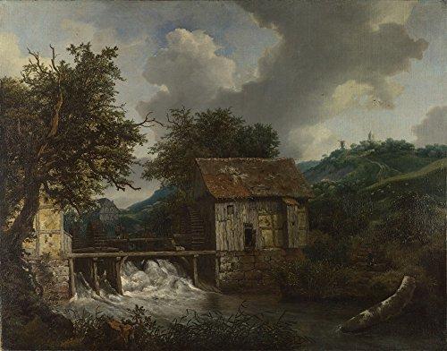 Das Museum Outlet-Jacob van Ruisdael-Zwei Watermills und eine offene Wehre bei Singraven, gespannte Leinwand Galerie verpackt. 50,8x 71,1cm -