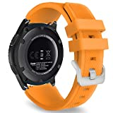 MoKo Gear S3 Frontier Smartwatch Bracelet en Silicone souple pour Samsung Galaxy Gear S3 Frontier   S3 Classic   Moto 360 2nd Gen 46mm Smart Watch, Pas compatible avec S2,S2 Classic,Fit2, Orange