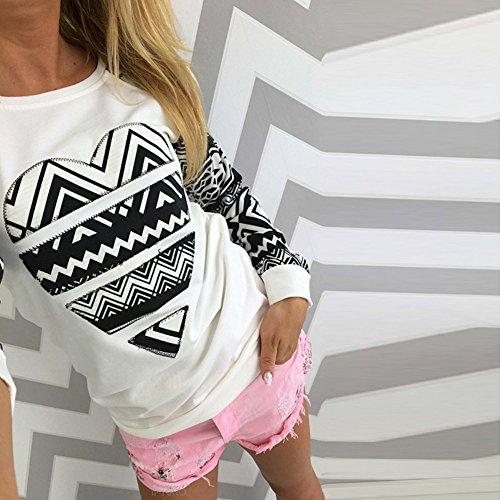 molie T-Shirt-Coeur Imprimé-Manches Longues-Femme Noir