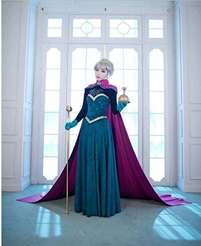 Verkleidung inspiriert Elsa Krönung (Erwachsen/Hohe Qualität/Cosplay) T-L (Elsa Krönung Kostüme)