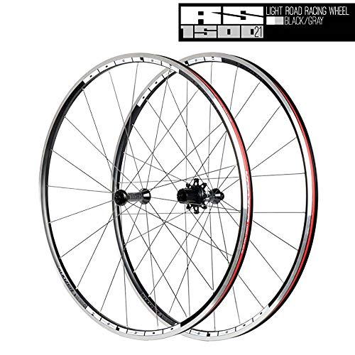 LIDAUTO Rennradfelgen Vorne/Hinten Drahtreifen Laufradsatz 4 Palin 72-Ringe 700C -