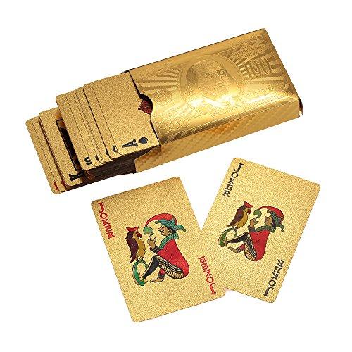 Lixada Certificado Hoja de Oro Plateado Poker Naipes de 52 Cartas y 2 Comodines