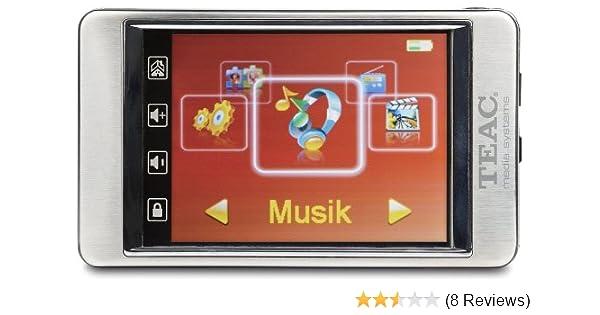 Teac MP 540 MP3-/Video-Player 4 GB (7,1 cm (2,8 Zoll) Touchscreen-Display,  FM-Radio, MicroSD-Slot, USB 2 0) aluminium