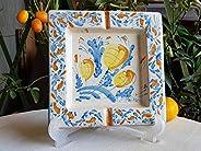 Posacenere da tavolo di ceramica siciliana realizzato e dipinto a mano. Le ceramiche di Ketty Messina.