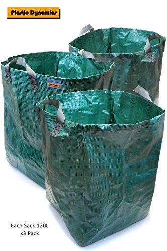 Plastic Dynamics® X3 schwere Garten Sack 120l (45 x 45 x 60 cm)