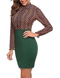Chigant Women Sexy Long Sleeve Chiffon Dress Bodycon Slim Pencil Dresses Tie Button Side Slit Mock Neck Patchwork Dress